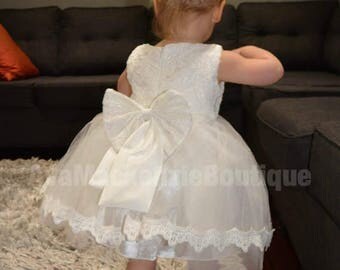 Baptism dress, Baptism gown, Christening gown, Christening dress, tutu dress, Baptism, Chrisening, White lace, Baby girl outfit