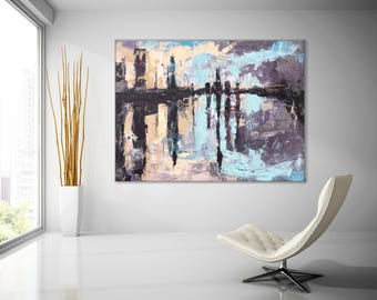 HUGE ABSTRACT CANVAS Painting,Decor48x36 In.Large Canvas Art New York Abstract Painting Wall Decor contemporary canvas painting decor