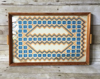 Embroidered Serving Tray - Boho Mid Century Design