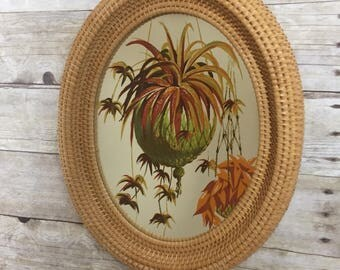Wicker Rattan Mirror - Boho Mid Century Modern Jungalow Home Decor
