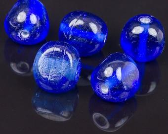 10 triangle 15mm blue glass beads