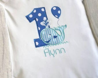 One year old boy birthday outfit, first birthday onesie, 1st birthday cake smash outfits, whale onesie, Baby boy 1st birthday outfit