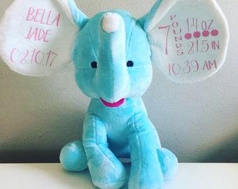 Baby Stats Elephant, Baby Shower Gift, Baptism Gift, New Baby Gift, Elephant Nursery