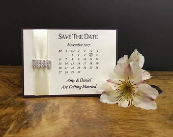 Ribbon Save the Date Calender Card