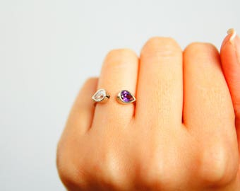 Two Birthstone Ring - Couples Birthstone Gift Ring - Custom Ring- Custom Birthstone Ring- Drop Cut Birthstone Ring - Personalized Gift Ring