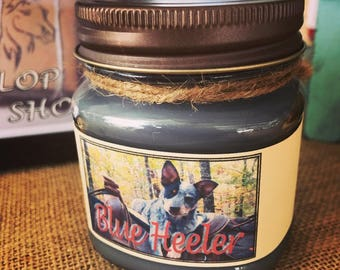 Blue Heeler Candle//Hand Poured//8 oz Paraffin or Soy Candle