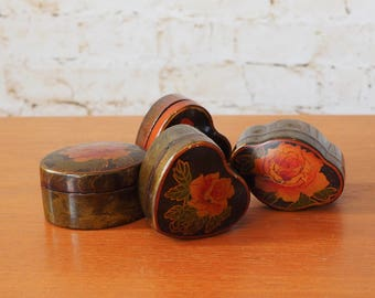 Four 1970's Rose Trinket Pots