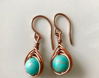 Turquoise earrings, Natural stone earrings, Dangle earrings, Wire wrapped earrings, Handmade earrings