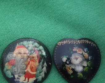 2 Russian Hand Painted Brooches