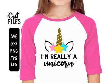 Im really a Unicorn SVG, Unicorn horn and ears cake topper, unicorn face tee, SVG, DXF, eps, jpg, png file for silhouette/cricut die cutting