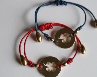 Woman bracelet-Leather bracelet and golden clover