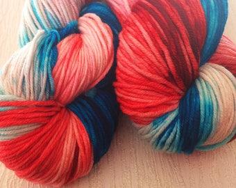 Patriotic Yarn - Red White And Blue Yarn - Geek Yarn - Nerd Yarn - Hand Dyed Yarn - Superhero Yarn - Red And Blue Yarn - Iced Americano