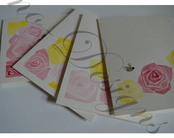 Bumble Bee's & Roses/ Watercolor Greeting Card Set of 4 - Pink, Yellow,  Gold