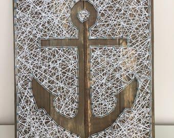 Made to Order. Anchor String Art, Wall Art, Home Decor, Nautical