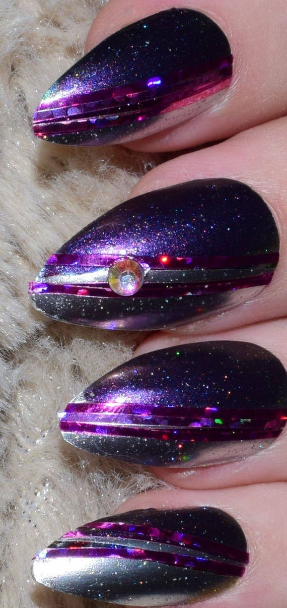 Purple Fake Nails, Long Stiletto False Nails, Hand Painted ...