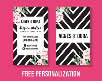 Agnes and Dora Business Cards, Free Fast Personalization, Instant Download, Vertical Business Card