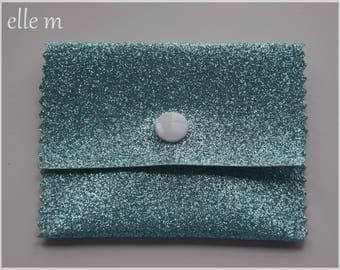 Mini pouch jewelry turquoise sequin fabric
