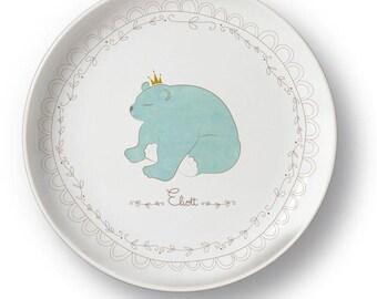 Customizable bear porcelain plate