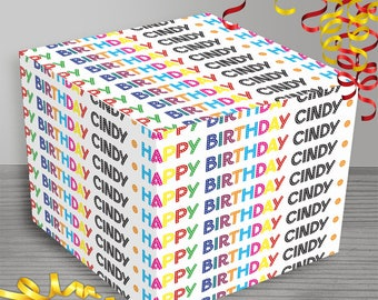Personalized Happy Birthday Wrapping Paper