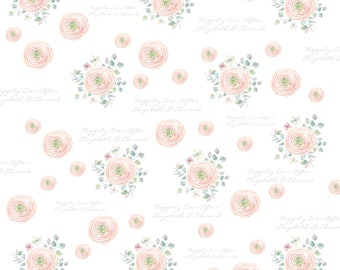Personalized Watercolor Flower Wrapping Paper