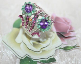 Sterling Silver ring 925 set with sapphires Multicolores+ emeraudes+ Topazes