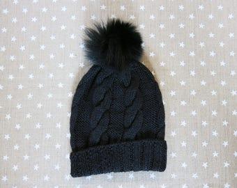 Bonnet 100% alpaga avec pompon fourrure véritable