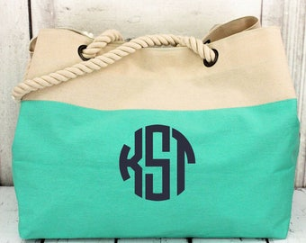 Monogrammed tote, Rope handle beach tote, rope handle tote, canvas tote