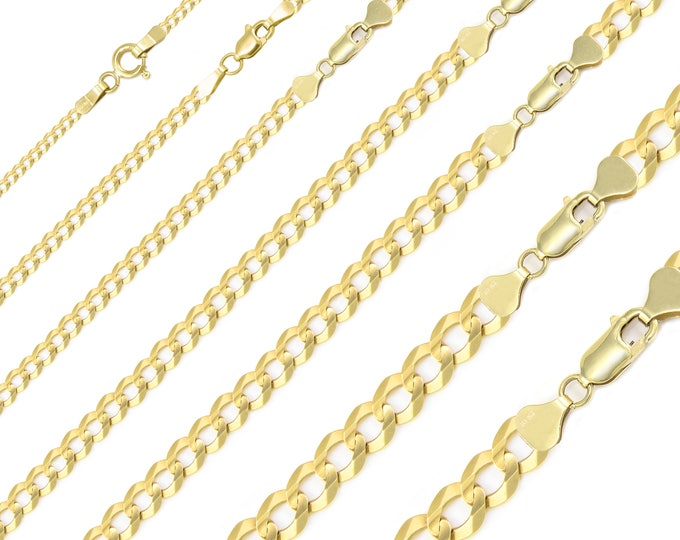"""Featured listing image: 10K Solid Yellow Gold Cuban Necklace Chain 2.0-12.5mm 16-30"""" - Round Curb Link"""