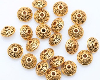 100pcs Antique Gold tone Spacer Beads  6mm