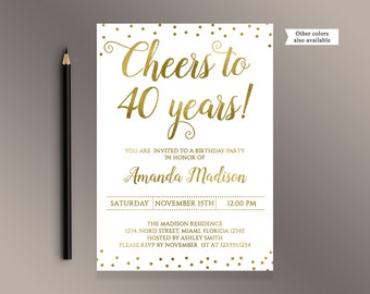 40th birthday invitation man cheers to 40 years birthday cheers to 40 years birthday party invitation gold confetti 40th birthday invites adult birthday stopboris Images