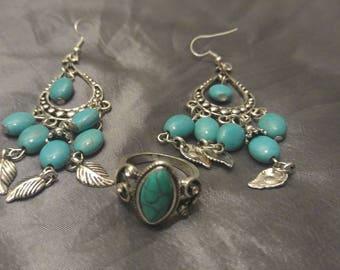 Turquoise Tibetan Silver Jewelry Set