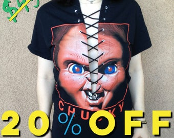 Chucky/Child's Play Horror Movie T-Shirt Lace Up Size Small