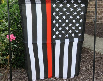 American Flag Thin Red Line 12x18 Garden Flag