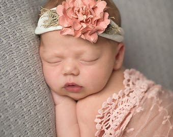 Cream Color Jersey Newborn Tieback with Pink Flower