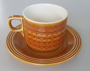 Fabulous Hornsea Saffron Cup and saucer, four sets available, Made in England, 1977. Vintage British Pottery, perfect condition
