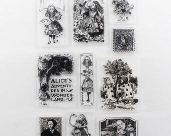 Clear stamps 10 pezzi/pieces set Alice in Wonderland