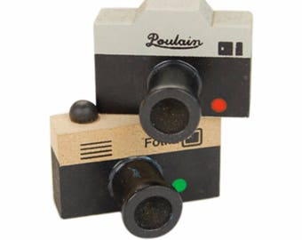 Wooden and rubber stamps imitation mini photo machines in two designs listed here
