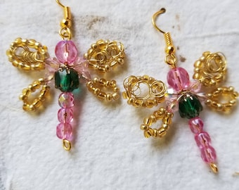 Golden Wing Dragonfly Earrings with Pink and Teal Green
