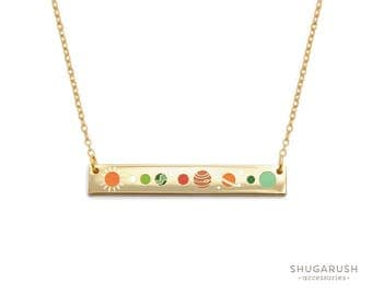 Bar Necklace Balance Glow in the Dark Solar System