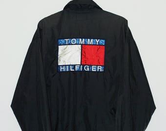 Vintage 90s Tommy Hilfiger Coach Jacket Big Logo Big Flag Sweater Streetwear Tommy Jacket