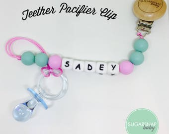 Custom PERSONALIZED Silicone Teething Pacifier Cip - Chew Beads - Bite Beads - Universal Pacifier Holder - soother clip -select a color