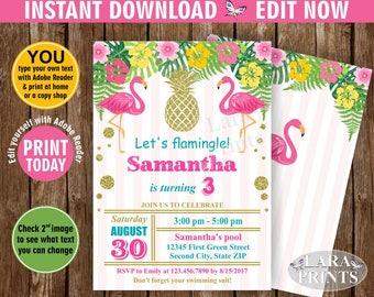 INSTANT DOWNLOAD / Birthday Invitation / Flamingo / Pineapple / Pool / Bash / invite / Luau / Hawaiian / Party Pink Teal Gold BDP4