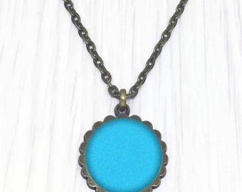 Pendant Necklace blue bronze medallion, gift jewelry