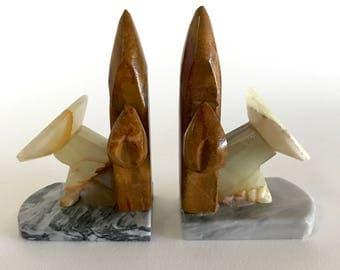 Vintage Onyx and Marble Cactus Bookends- Saguaro Siesta Carved Stone Bookends- Boho Decor