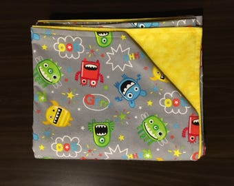 Goofy monsters, yellow marble, soft cotton flannel, recieving blanket