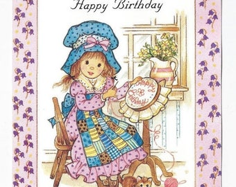"On Sale 1980s Cute Vintage Birthday Card ""Happy Birthday"" Girl Embroidering"