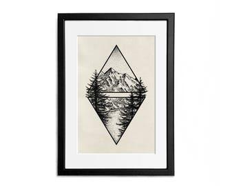 Mountain geometric shapes Print illustration A4 Poster Wall Decor Naturalistic Illustration Dotwork