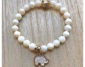 White Nacar Shell bracelet + Elephant charm.