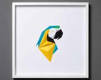 MACAW PORTRE | Handmade Paper Artwork