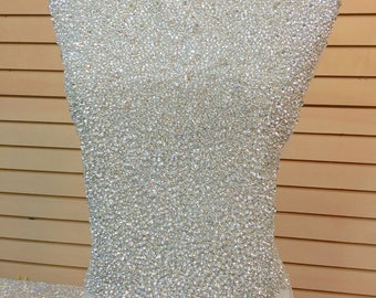Designer Full body Rhinestone Applique, Beaded Wedding Dress Applique. Swarovski Shine Silver, Czech Crystal # 81175/HBP